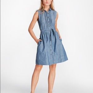 Brooks Brothers Pintucked Chambray Shirt Dress